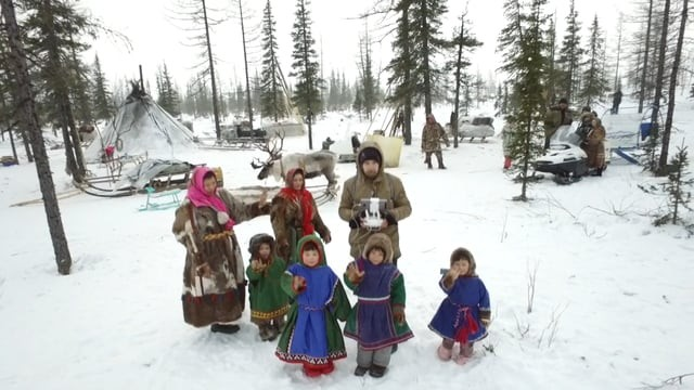 Nenets kids and drone
