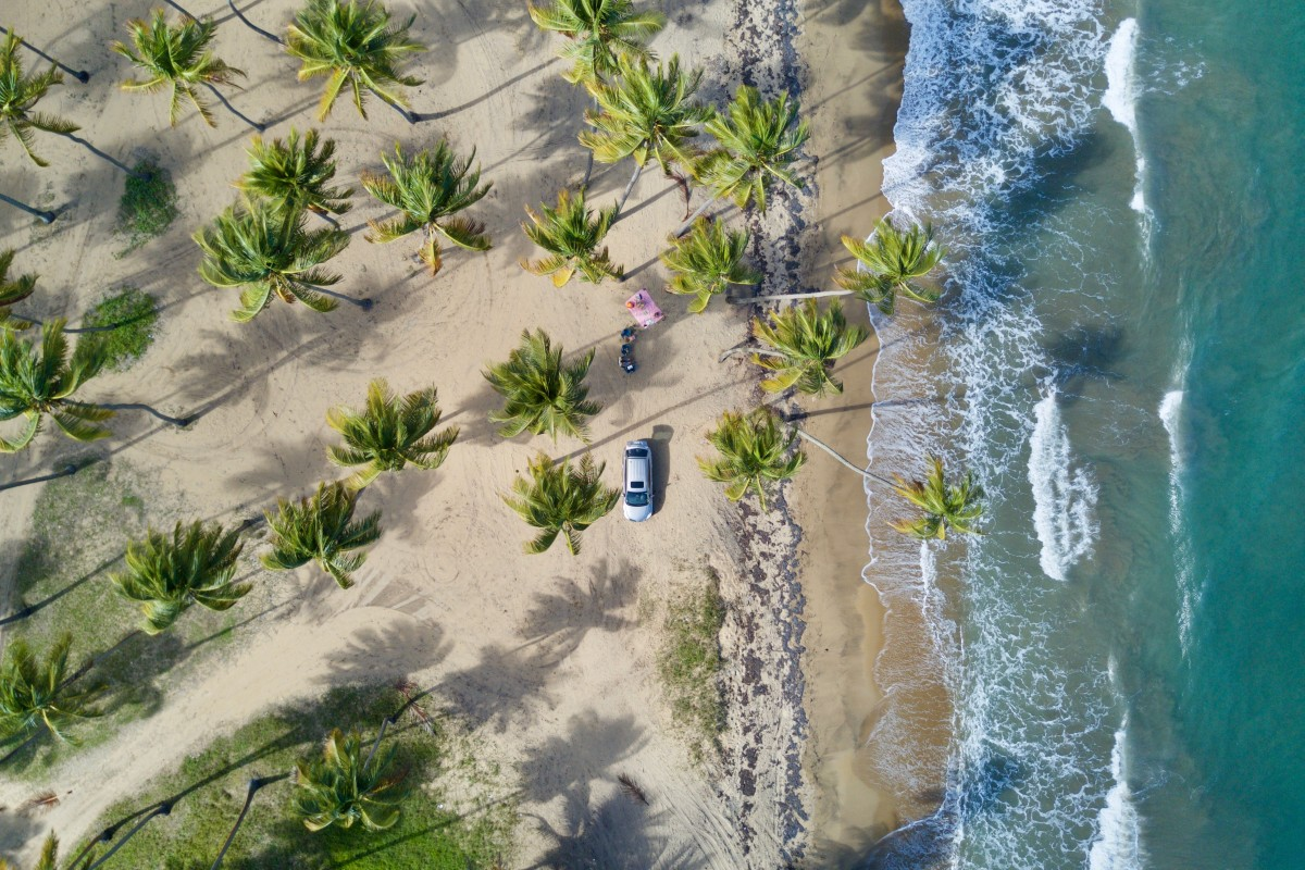 Picnic at the beach from above