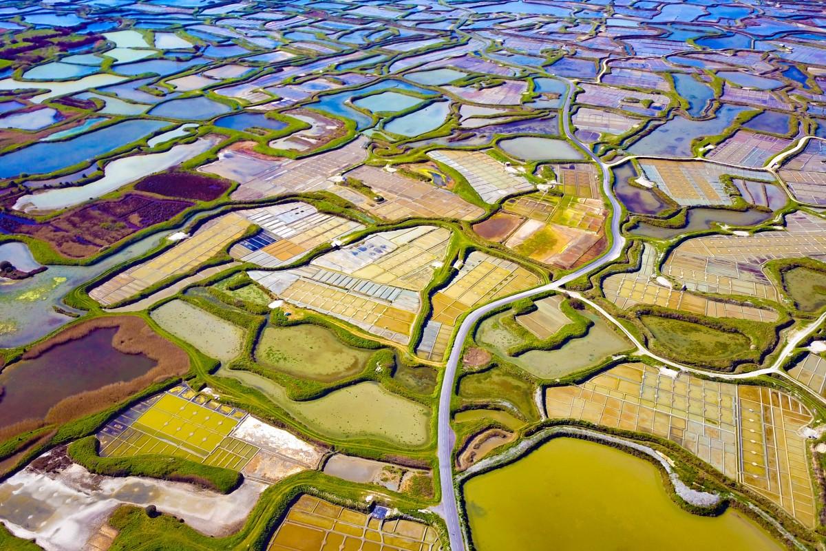 Fly over salt marshes