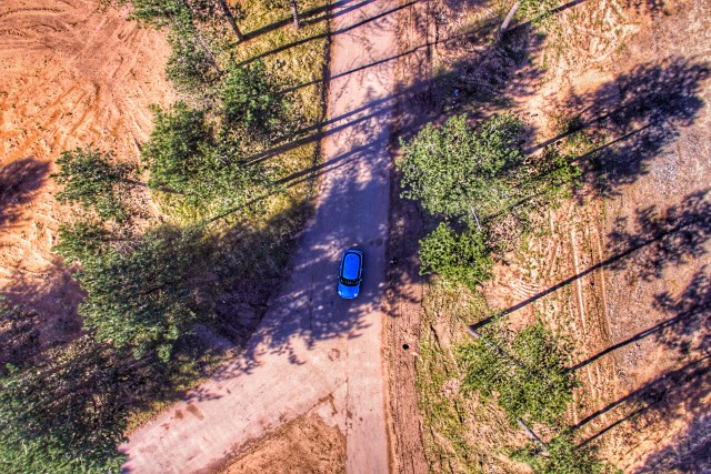Mini Cooper taken from above on DJI Phantom Drone
