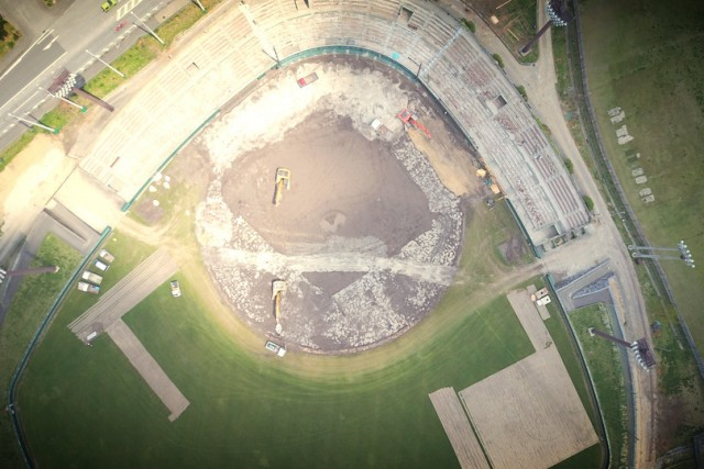 The Nago baseball stadium is under repair.