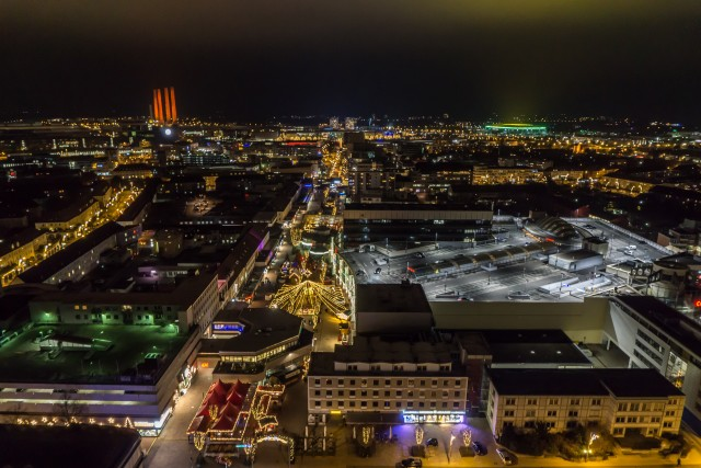 Wolfsburg City by Night Aerial Picture