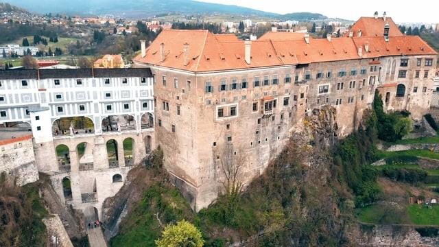 Cesky Krumlov, Czech Republic, old town and castle, Aerial view 4K