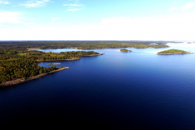 Aerial View of Lake Vaner, Sweden, NW Lakeshore and Islands