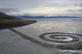 The Spiral Jetty on the Great Salt Lake in Utah, USA