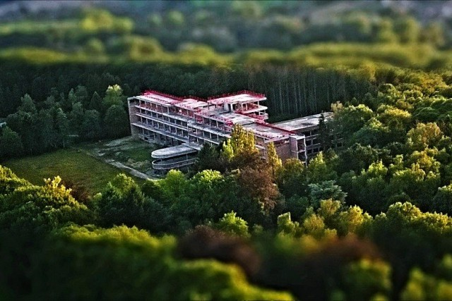 Tilt-shifted abandoned hospital, Belgium.