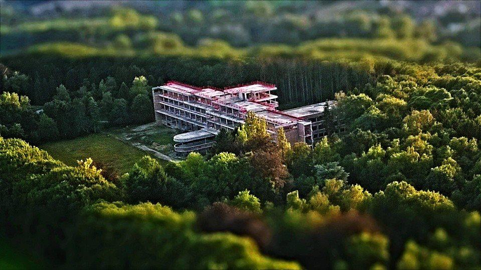 Tilt-shifted abandoned hospital, Belgium.