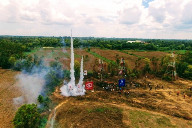 Twin rocket launch, Yasothon Rocket Festival