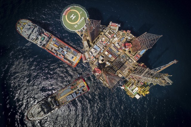 Bird's Eye View of Drilling Platform