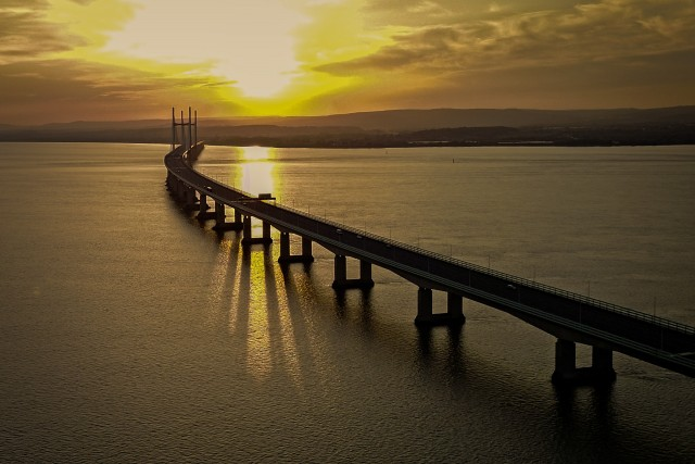 Sunset above Severn Bridge