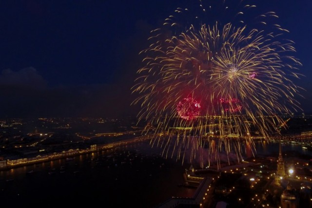Victory Day firework. 09.05.2017. Saint-Petersburg, Russian Federation