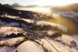Little village in a snow globe