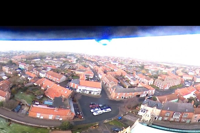 360 of Howden Minster. 360 camera strapped underneath Hubsan