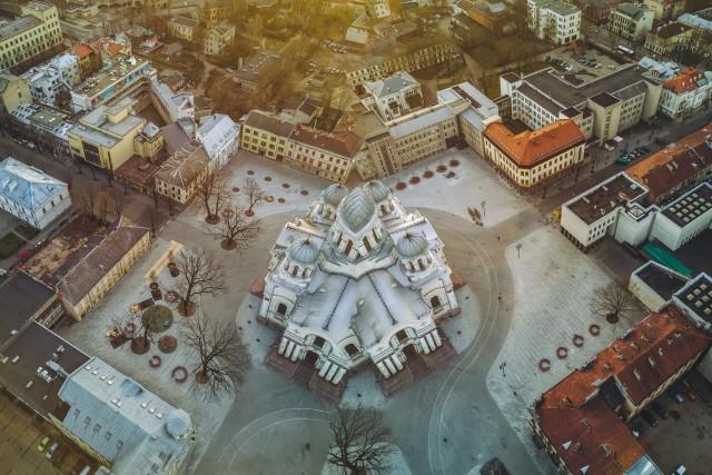 Sliced church in Kaunas, Lithuania