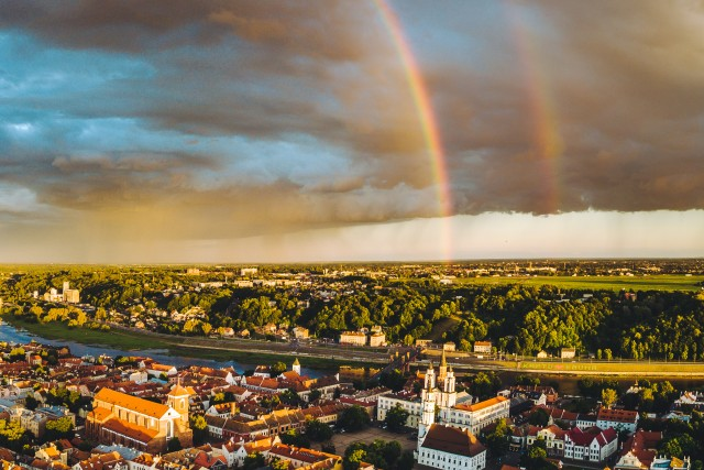Drouble rainbow over Kaunas old town