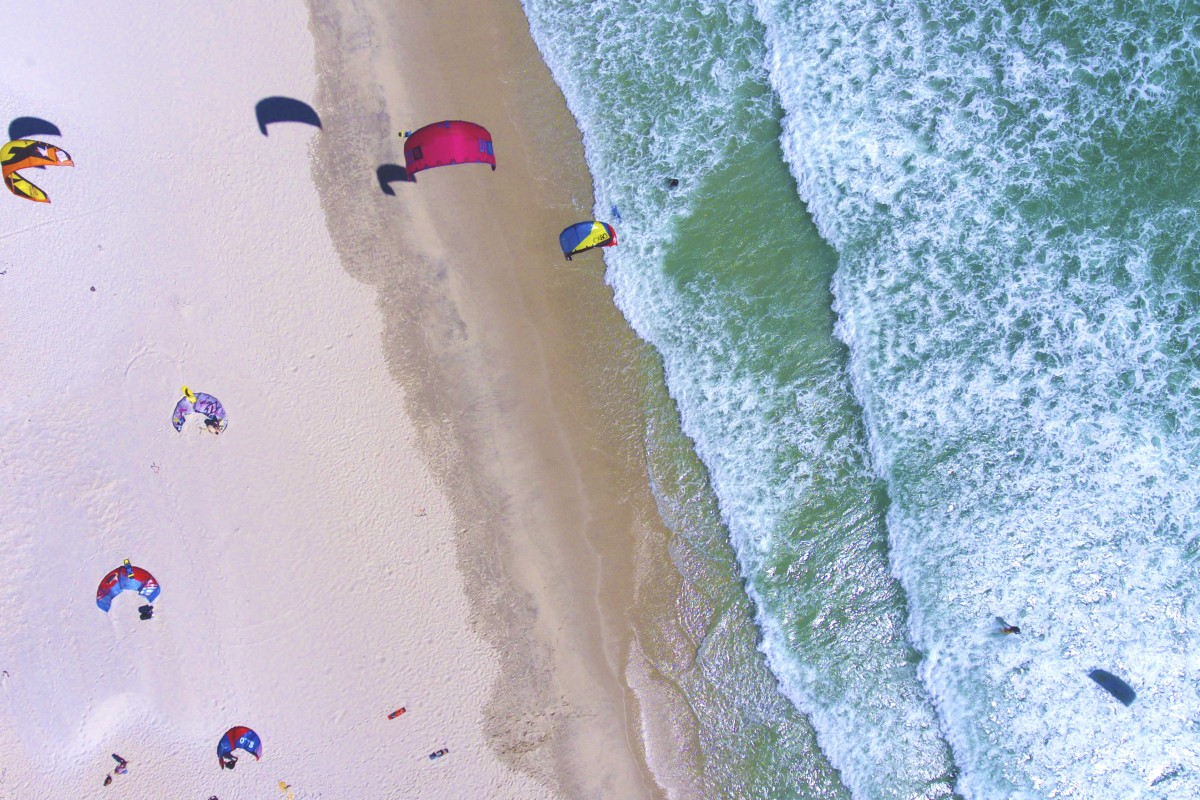 Kite surfers on Table View Beach, Cape Town, South Africa