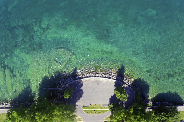 Crystal waters above Lake Geneva Switzerland