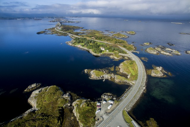 Aerial view of Norway's scenic highway, Atlanterhavsveien (Atlantic Ocean Road)
