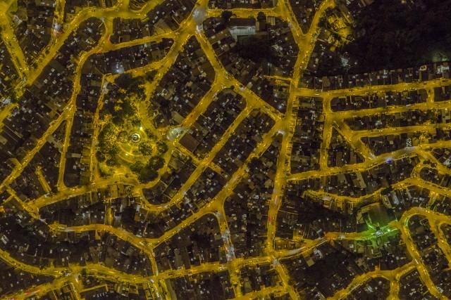 Comuna at night in medellin