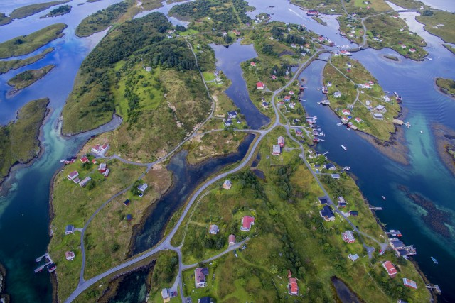Aerial view of small fishing village on islands in western Norway