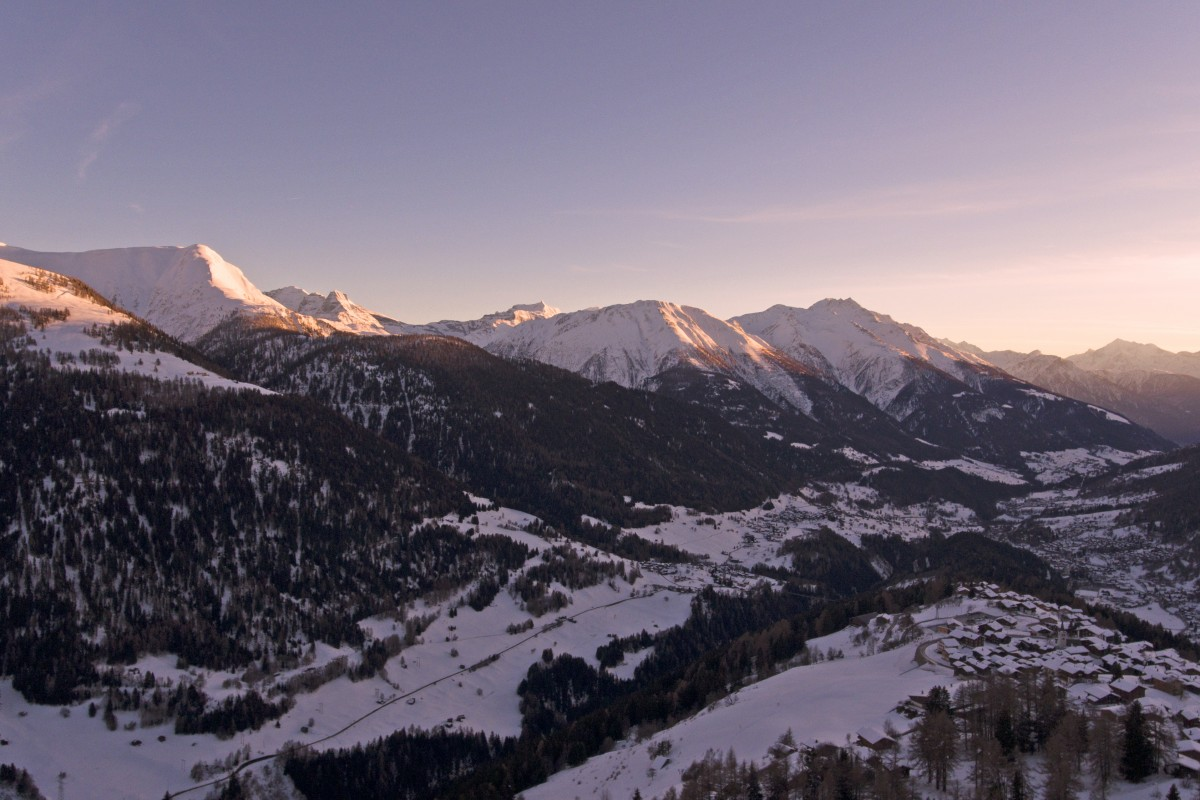 Sunset over the  Alps in the Valais region of Switzerland