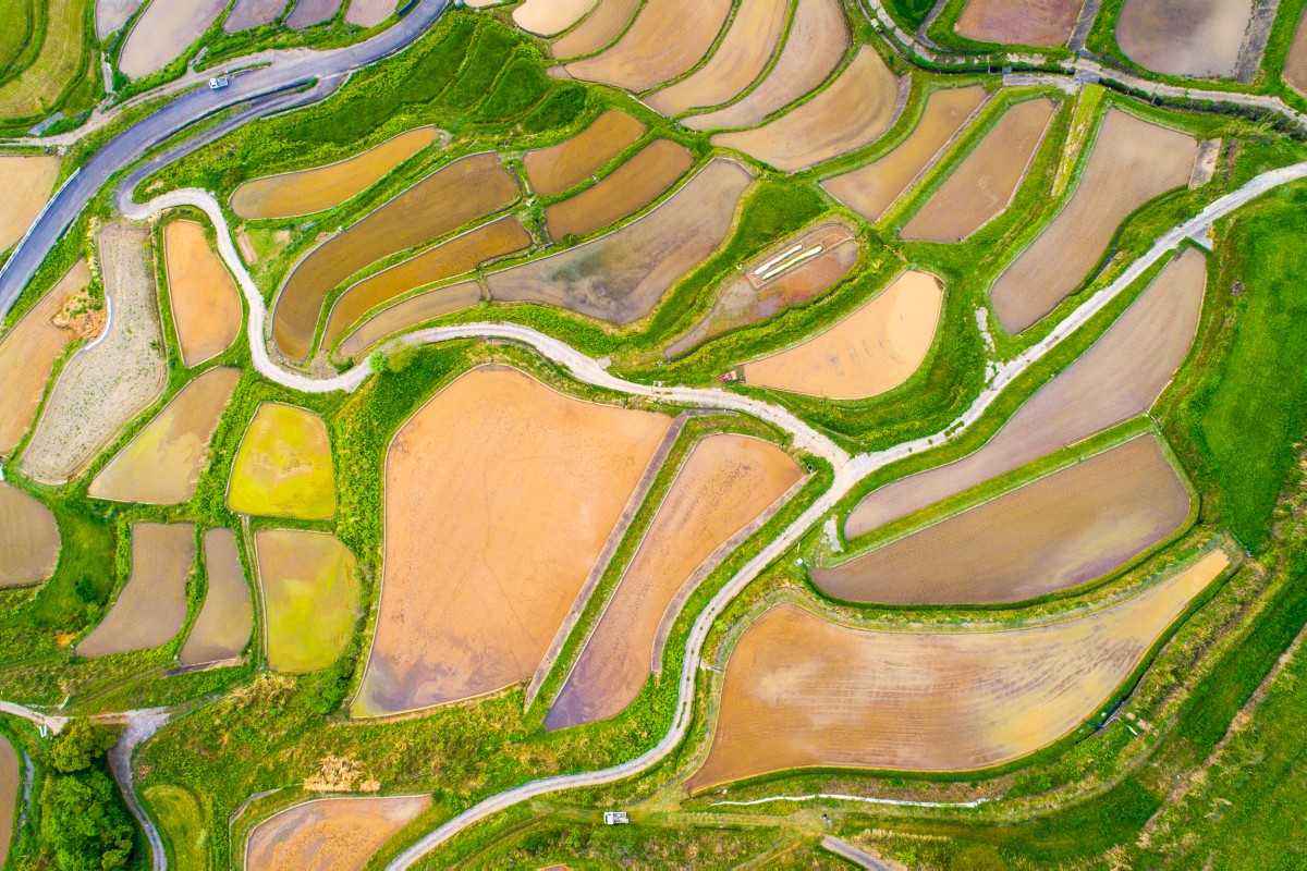 Rice Terraces aerial photo from Nagasaki Japan