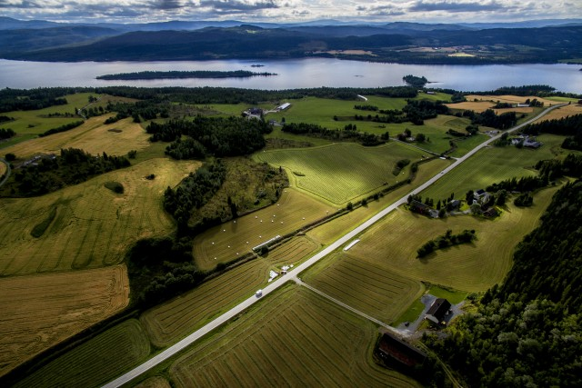 Aerial view of summer countryside in Steinkger in Norway