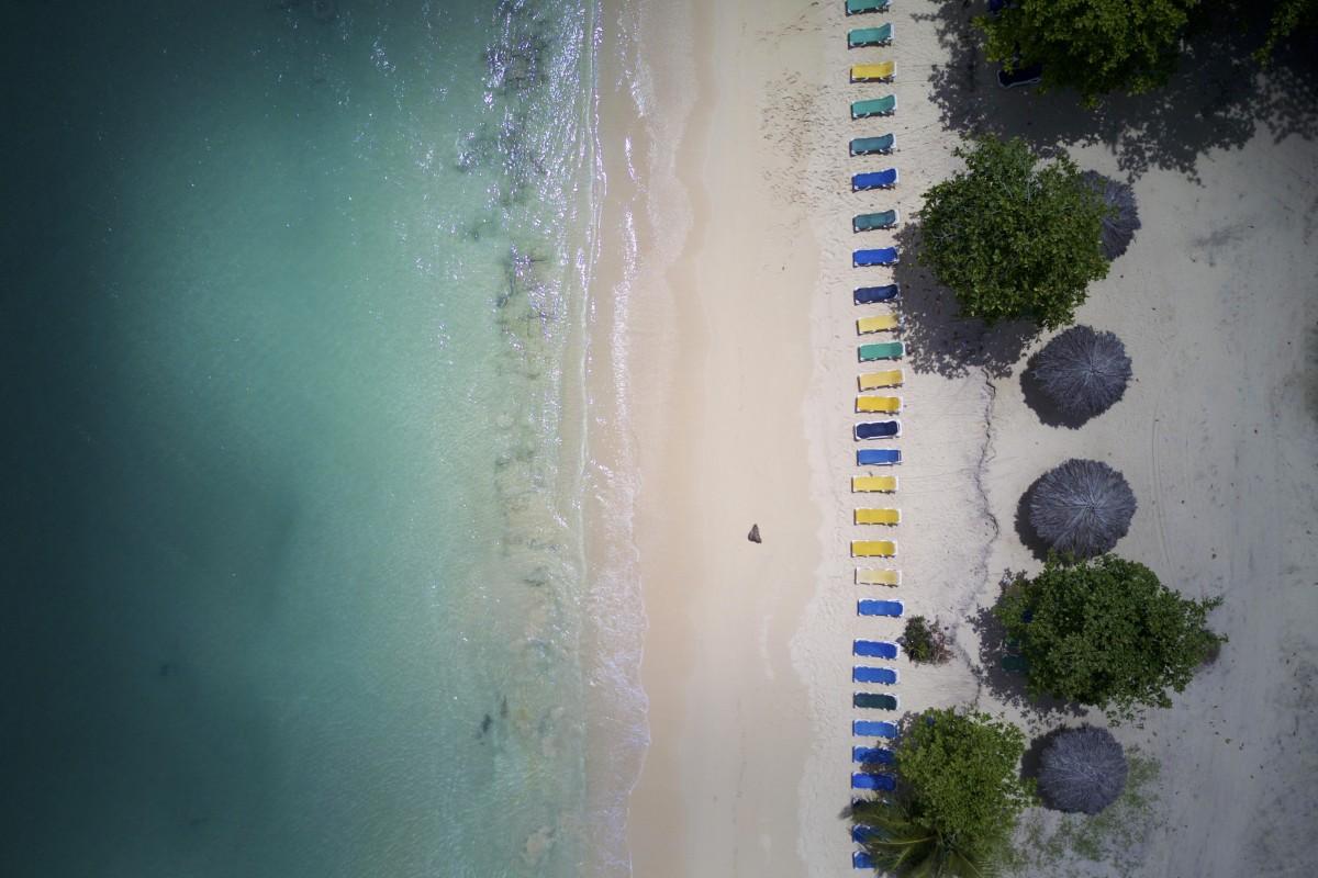 Beach chairs, Playa Rincon, Dominican Republic