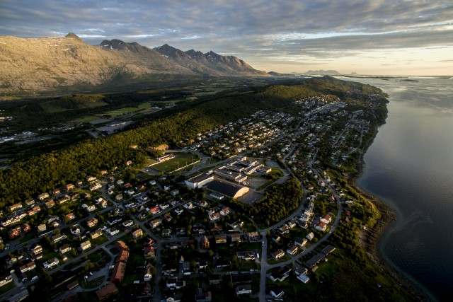 Aerial view of sunset cityscape of Sandnessjoen, Norway