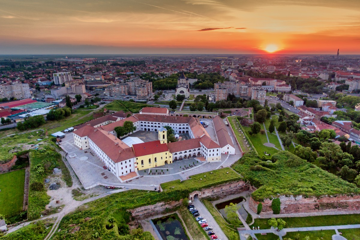 Oradea medieval fortress at sunset