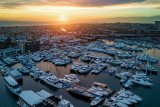 Newport Beach Harbor for the annual boat show