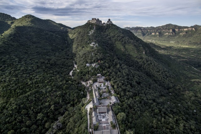 Aerial view of a Tao's tample on the mountain top in China