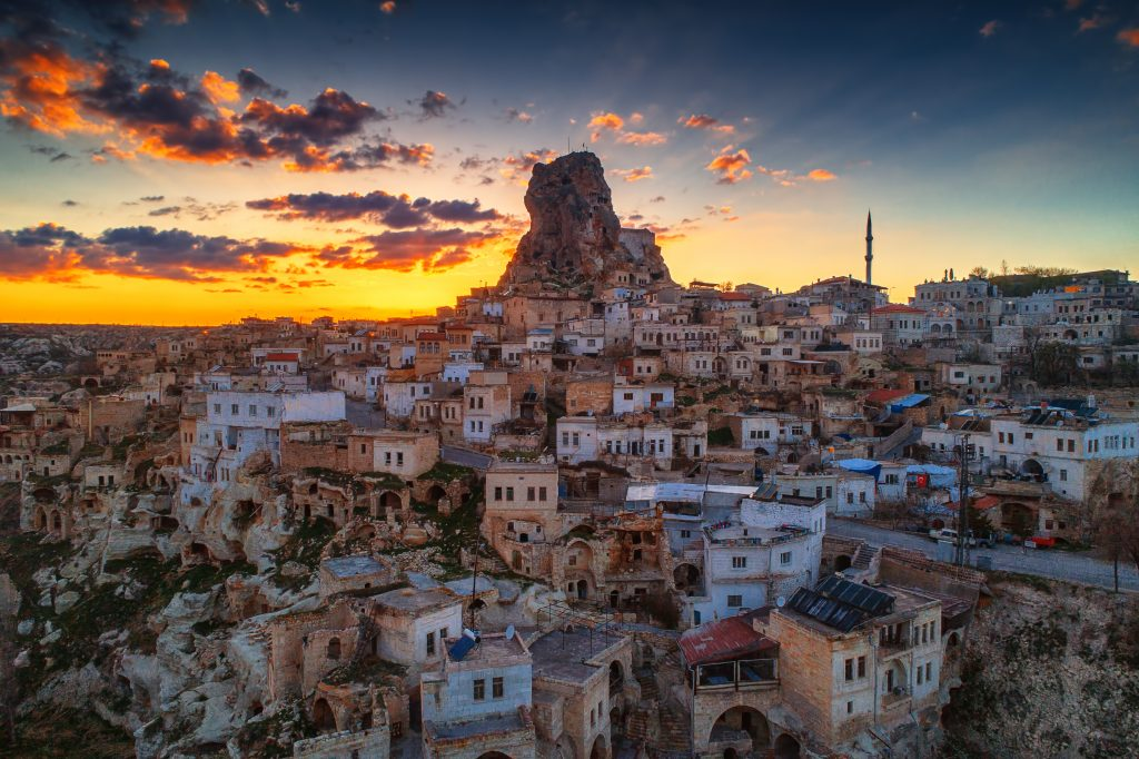 Aerial View Of Uchisar Castle In The Sunset Cappadocia
