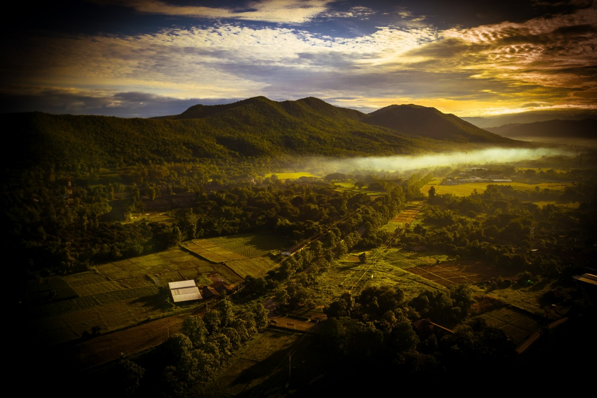 Sunrise – Over  Northern Thailand Countryside – Chiang Mai