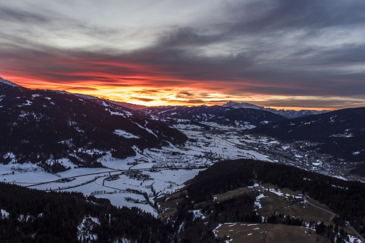 Fire sunset above Alps