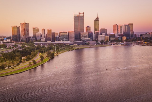 Sunset in Perth CBD