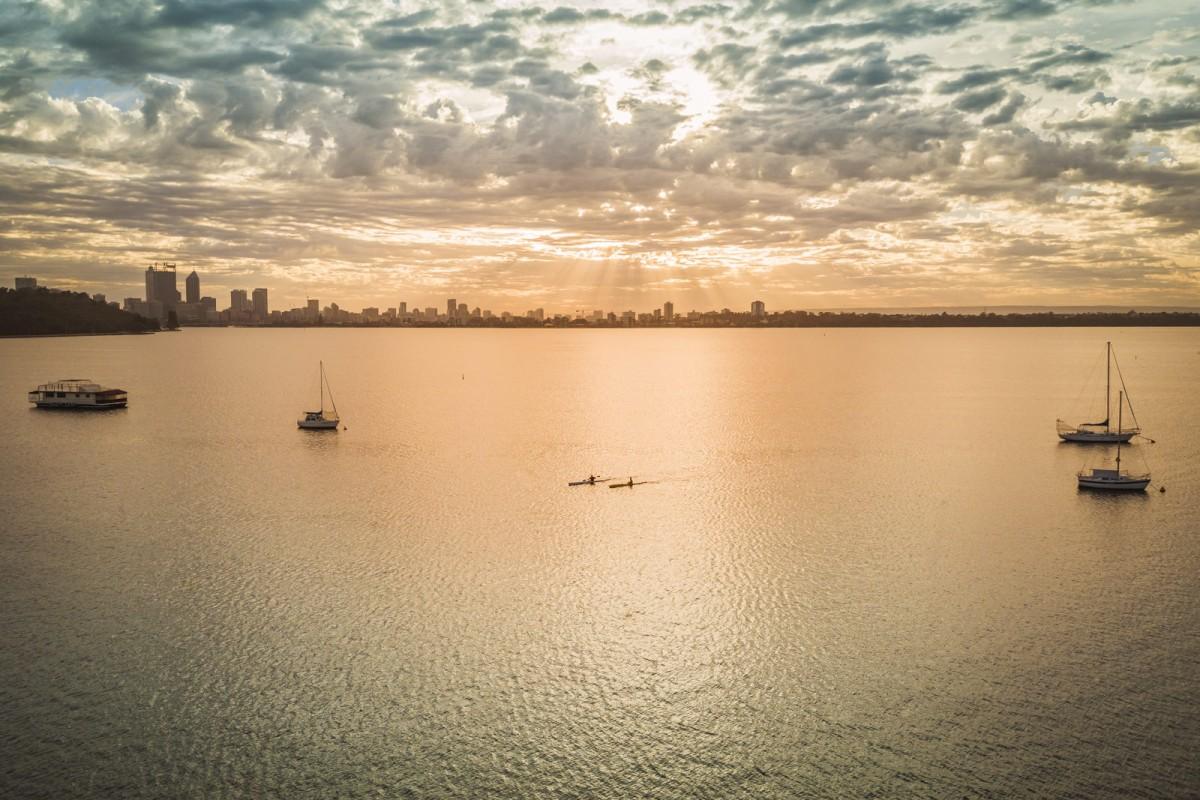 Sun rays over Perth City