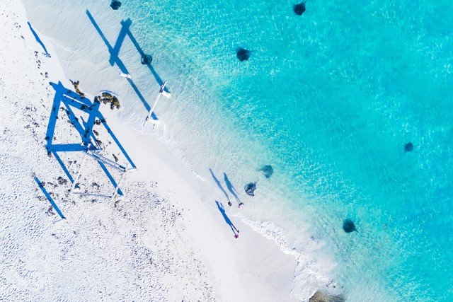 Stingrays and shadow play at Hamelin Bay