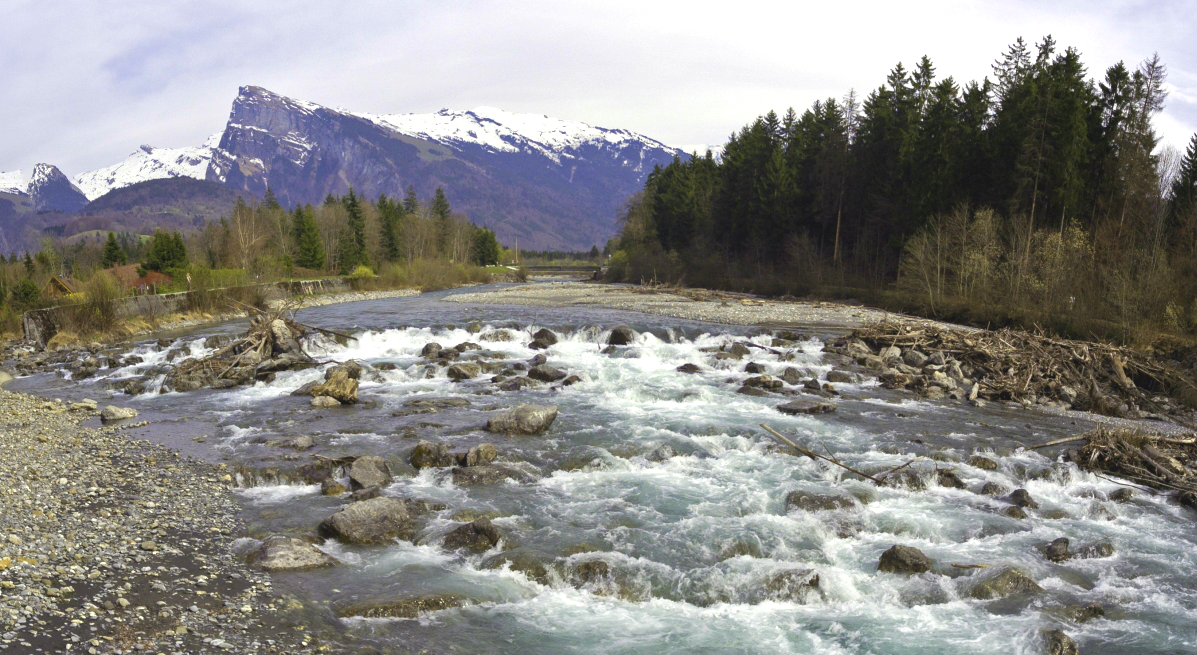 the River Giffre in the Samoens valley in the french alps