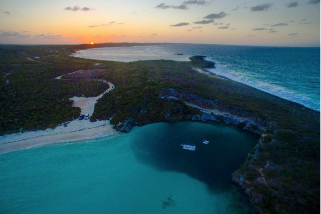 Sunset at Dean's Blue Hole