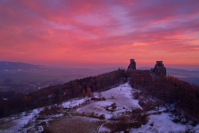 """Trosky"", ruins of medieval castle in extremely colorful sunset, Czechia, Europe"