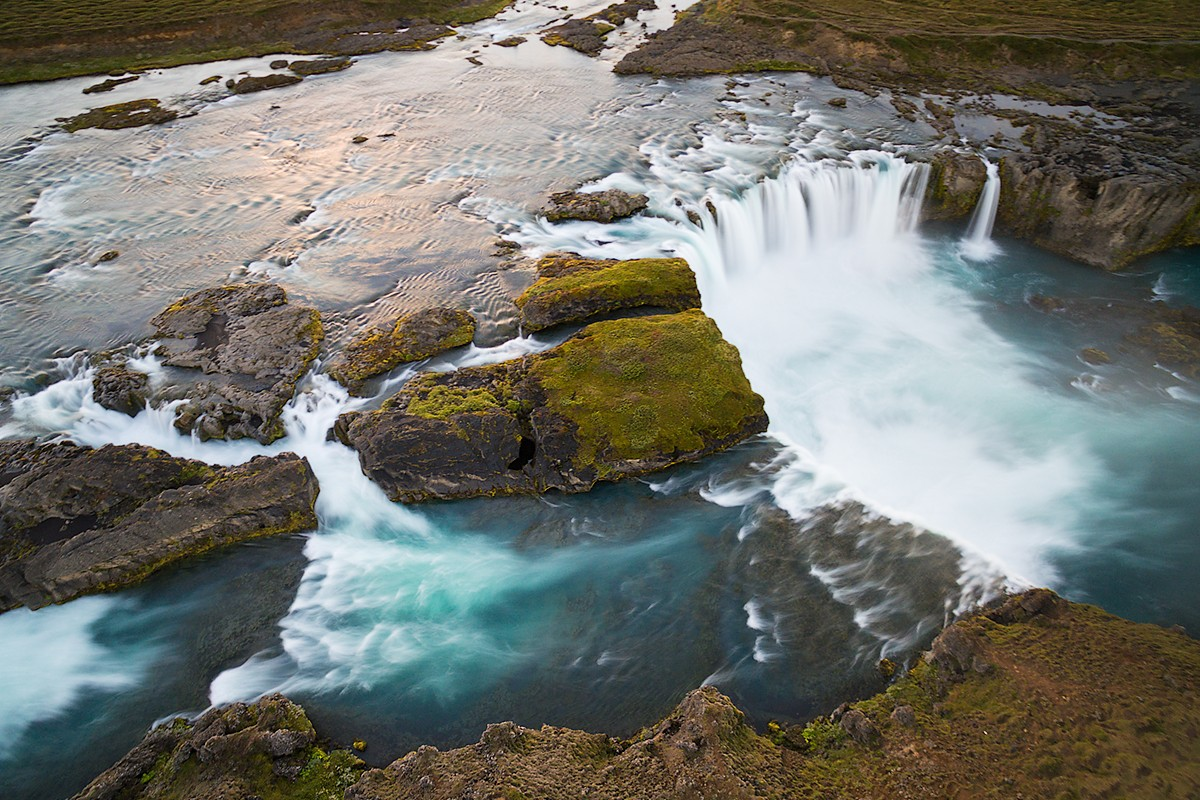 Waterfall long exposure in the late sun