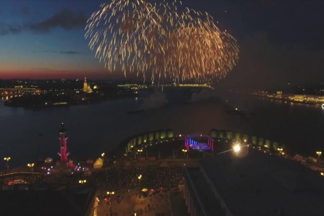 Amazing fireworks over Saint-Petersburg