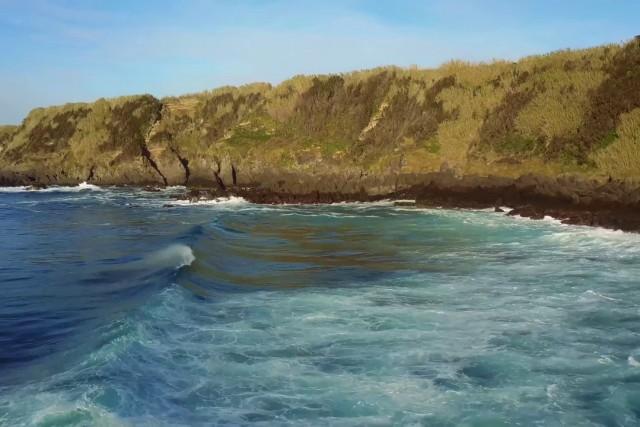 beach in azores island sao miguel