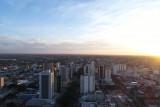 Autumn sunset at city