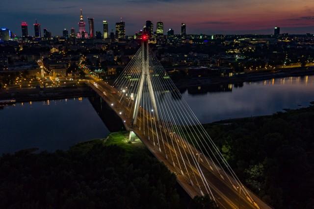 Warsaw by night and Vistula River