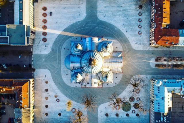 Independence Square from above, Kaunas, Lithuania