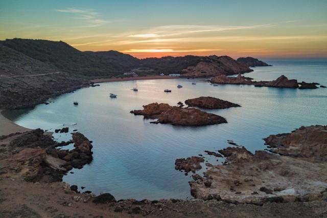 Sunset over coast of Menorca Island