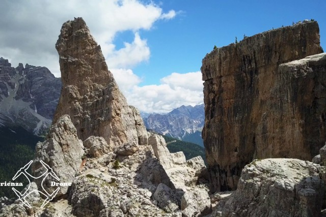 My drone fly on Cinque Torri in Dolomites