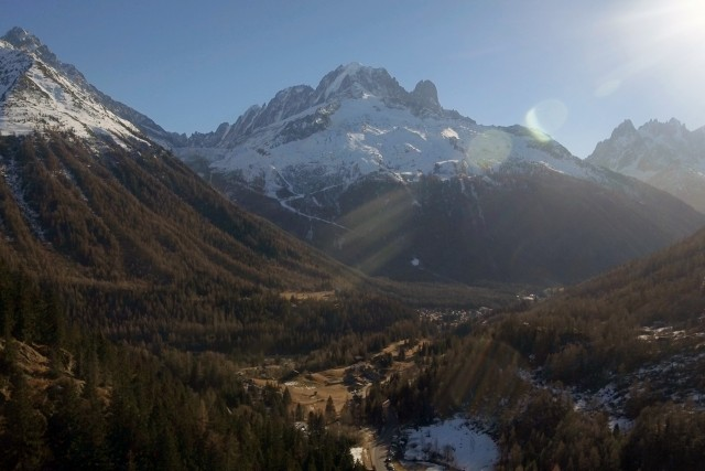 Aerial View of Chamonix Valley in the French Alps